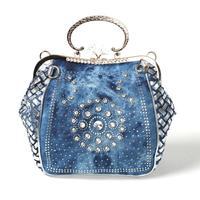 2014 new denim diamond large capacity bag handbag Messenger bag casual jeans Free Shipping a0
