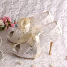 Elegant Weddingl Shoes Ivory Lace High Heeled Ankle Bridal Boots Lace-up Peep Toe Free Shipping(China (Mainland))