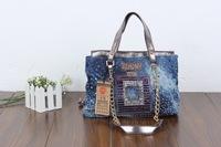 2014 new denim diamond large capacity bag handbag casual denim bag free shipping j6dw3