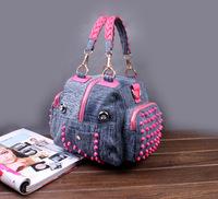 2014 new denim diamond large capacity bag handbag casual denim bag free shipping c4f4g4