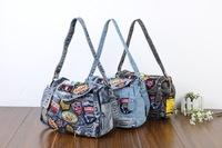 Genuine 2014 new denim diamond large capacity bag handbag casual denim bag free shipping f3gj7h6