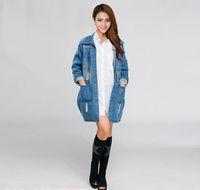 2014 New Fashion Large Size Women Washed Hole Casual Three Quarter Denim jacket 1616 XL, 2XL ,XXXL,3XL,XXXXL, 4XL free shipping