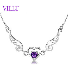 Angel lover 925 sterling silver necklace love women with ms natural amethyst necklace packages mailed free of charge