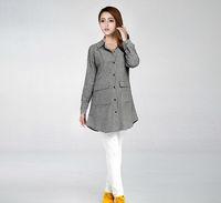 2014 New Fashion Large Size Women Loose Leisure Cotton Long-Sleeved Plaid Shirt 1768 2XL ,XXXL,3XL,XXXXL, 4XL free shipping