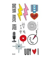 Promotion !!!!! 2014 Waterproof Tattoo Lightning microphone hand-painted small diamond eyes DIY tattoo stickers (10pcs/lot)