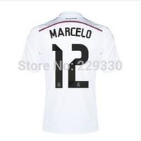 New Season La Liga 2014 2015 Real Madrid short sleeve Men's White home kit Jersey,#12 MARCELO,best thai quality,Free shipping