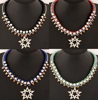European Retro Metal Luxury Temperament Rivet Bib Statement Necklace Women Choker Necklace,1pcs/lot