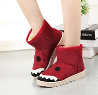 2014 New Winter Snow Boot Women Man-made Fur Buckle Motorcycle Ankle Boots Shoes size 35-40 Shark style
