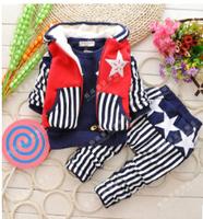 Free shipping - 2014 new children's clothing in winter Han edition boy pentagram children suit