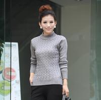 Free Shipping 2014 New Fashion Autumn Winter Women Wool Sweaters Elastic Turtleneck Long Sleeve Cardigan Gray,Army green,Black