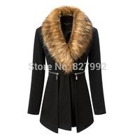 2014 New Women Fashion Fur Collar Zipper Pockets Decorated Autumn Winter Long Woolen Slim Coat Black
