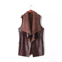 Free shipping 3 colors big revere collar lamb inside full lined thick winter vest, suede and  fleece vest, leather vest