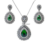 Free Shipping 2014 New Fashion Necklace/Earrings Make With Austria Elements Crystal Set  NK027EK027-Green