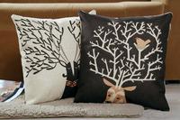 Home Style Cotton Linen Decorative Couple Throw Pillow Cover Cushion Case Couple Pillow Case, Set of 2 (Deer)