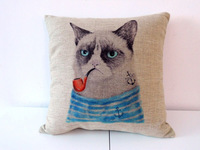 """Cotton Linen Square Throw Pillow Case Decorative Cushion Cover Pillowcase for Sofa Cat with Pipe 18 """"X18 """""""