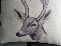 "Cotton Linen Square Throw Pillow Case Decorative Cushion Cover Pillowcase for Sofa Deer 18 ""X18 """