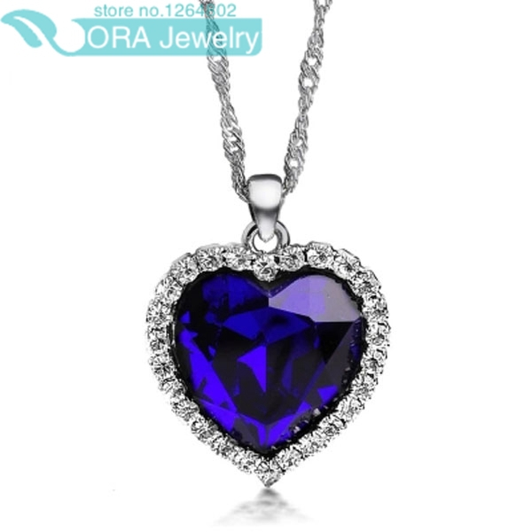 High Quality Romantic Titanic Ocean Heart Necklaces Pendant Copper Chain Crystal Necklace Statement Necklace 2014(China (Mainland))