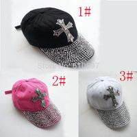 Wholesale 2014 new Retail 3 color Black 100%Cotton summer women baseball cap rhinestone unisex autumn Casual men Hats 5pcs/lot