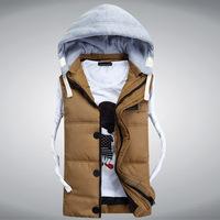 Men Casual Vest Down Coat Autumn Winter New Fashion 2014 Sleeveless Hooded Slim Plus Size Outerwear M TO XXL