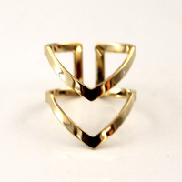stacking Chevron ring Gold knuckle Band Adjustable Gold midi rings Gold jewelry