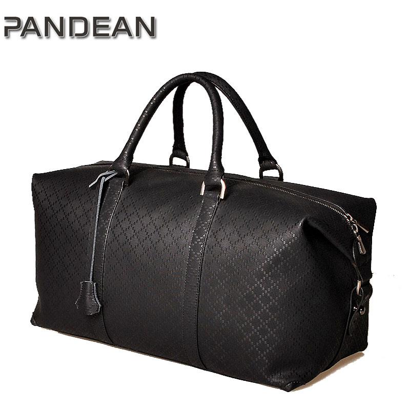 Business male travel bag, large capacity plaid embossed genuine leather handbag,male black/brown travelling luggage bag(China (Mainland))