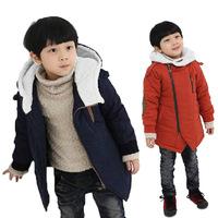 2014 Winter Children Warm Oblique Zipper Design Coats Boys Thick padded Jacket Coats Kids Coats Free Shipping 5 PCS