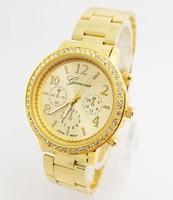 Luxury GENEVA Wholesale women men wristwatches ladies fashion Analog quartz watch men rhinestone Women dress watches 20141002-18