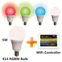 5pcs Mi-Light E14 5W RGBW Bulb Lights and 1pc WiFi Controller Wireless Control