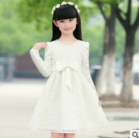 2014 autumn new arrival girl's long sleeve flower dress white princesslace dress kids fashion wear