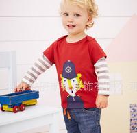 2014 new boy's long-sleeve t shirt flower girl's tee tops red fashion cartoon t-shirts children's clothing kids tshirt