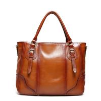 Luxury Brand High Quality Vintage Fashion 100% Top Genuine Leather Cowhide Women OL Handbag Shoulder Messenger Bag Bags For Lady