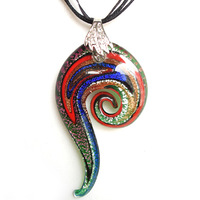 CollectionBP  Murano Glass  Flame Fire Multi Color  Irregular Corkscrew Spin Pendant Necklaces