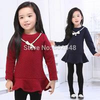 2014 Autumn Winter Girls Space Cotton Dress Children Necklace Design Long Sleeve Princess Dress Kids Clothing Free Shipping 5PCS