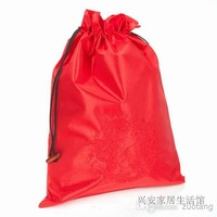 Chinese style Reusable Embroidery Dragon Shoe bags with lined Drawstring Silk Fabric Storage Bags Shoe cover 10pcs/lot Mix Color