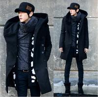 Dongkuan  Men's  Slim long coat  Men Korean version of the double-breasted coat it thick hooded  Men Jacket