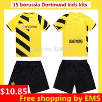 14/15 Borussia Dortmund  kids kits soccer football jersey + shorts kits,best quality REUS Kids hummels BVB soccer uniforms