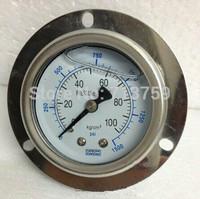 Free shipping YN-50ZT Oil filled SS Pressure Gauge Meter Manomter back with border 0-100kg / 0-1500psi