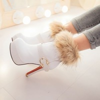 new high heel ankle boots heels platform women winter boots autumn red bottom shoes woman buckle leather black khaki white beige