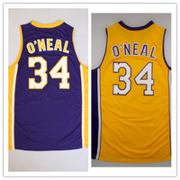 34# Shaquille O'Neal Shaq New Material Rev 30 Embroidery Los Angeles Basketball jersey size S-XXL Retail/Wholesale Free Shipping