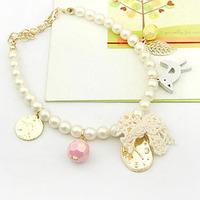 Cute wooden bird gold plated coin leaves beige lace fabric bow clock matt pearl bracelet L0557
