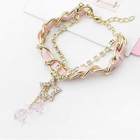South Korean exports of white leather long golden five-pointed star openwork gold plated bracelet crystal droplets L0609B