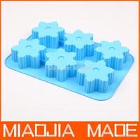 Free shipping 2pcs/ lot 6 holes snowflake style silicone cake mold,cake pan, christmas bakeware 26x17x4cm
