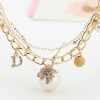 New arrival jewelry Exported to Europe gold plated hollow sphere letter D matte pearl bracelet L0613