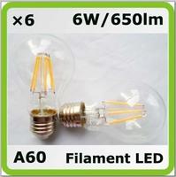 Nolvery 220V 230V 240V 6W LED filamento bombilla A19 A60 650lm E27 = 60W incandescent bulbs