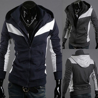 Wholesale New Men's Fashion Movement Hit The Color Slim Hooded Sweater, Men's Casual Jackets WY107