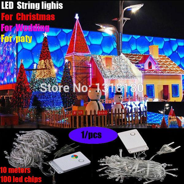Factory directly sale 1 pcs/lot LED String Light 10M 85-265V Decoration Light Party Wedding Christmas lights Free Shipping(China (Mainland))