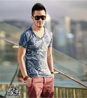 XNAN 2014 new Saturn printing mercerized cotton men's V-neck T-shirt T2044 short-sleeve Comfort T-shirt For Metrosexual men