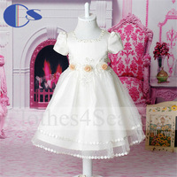 Applique Flower High Quality Ivory Party Dress Korean Design Handmade Beading Baby Girl Rroupa Infantil Girls Pageant Dress