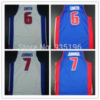 7# Brandon Jennings 6# Josh Smith Jersey New Material Rev 30 Embroidery Detroit Basketball jerseys size S-XXL  Free Shipping
