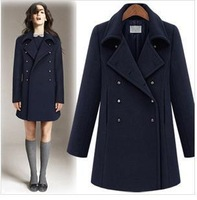 Double Breasted Woolen Jacket Women Winter Wool Coat Large Lapel Thick Women's Outerwear QualityBig Turn Down Collar Coat XL,XXL